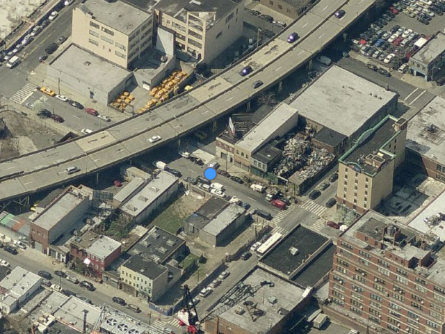 42-44 Crescent Street, above the blue dot; overhead shot by Bing Maps
