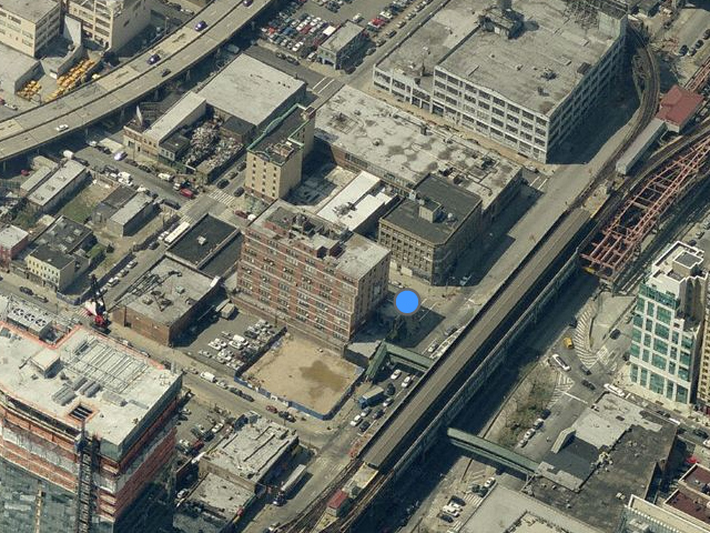 42-02 Crescent Street, just above blue dot, overhead shot from Bing Maps