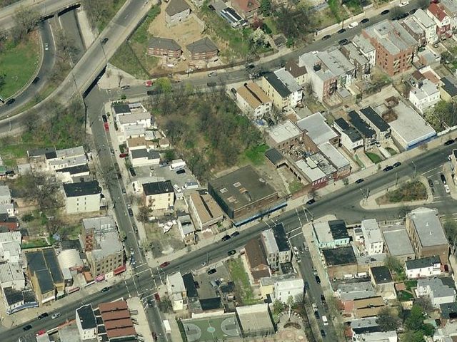 137 Jamaica Avenue (empty lot plus low-rise buildings below), overhead shot from Bing Maps