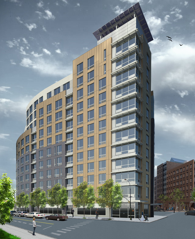 Melrose Commons North Site C as seen from the north, rendering by Magnusson Architecture and Planning