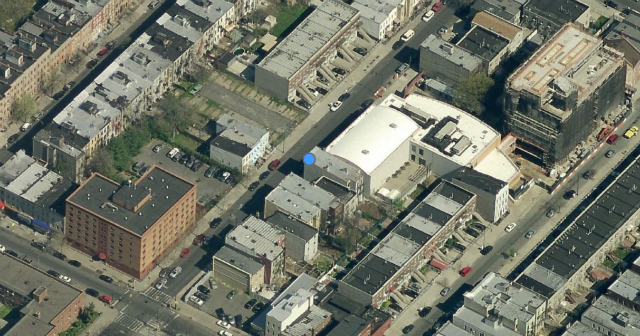 1455 Gates Avenue (left of blue dot), image from Bing Maps