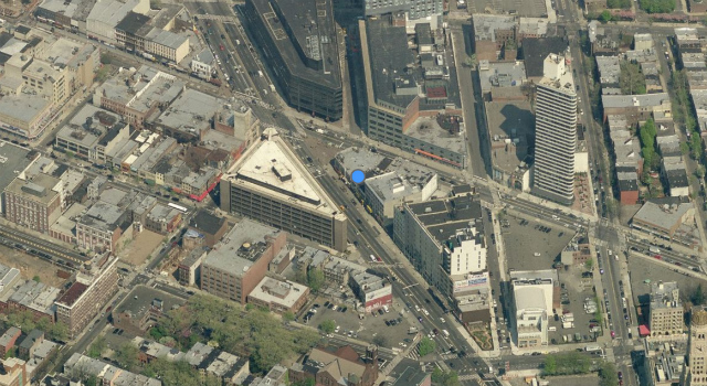 1 Flatbush Avenue, before construction of 66 Rockwell Place; image from Bing Maps
