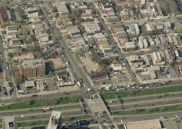 1028 White Plains Road (empty lots in center), image from Bing Maps