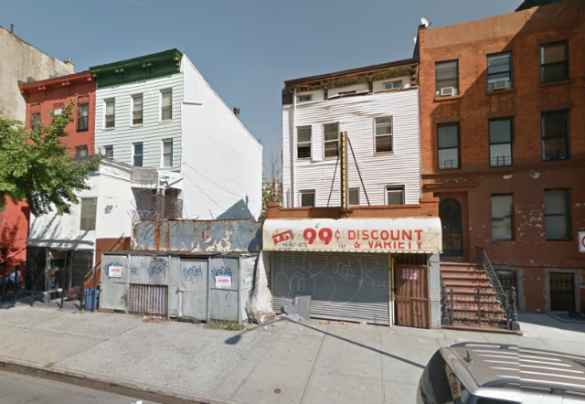 157 Tompkins Avenue (vacant lot and adjacent three-story building), image from Google Maps