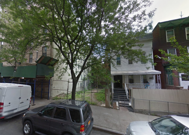 598 East 167th Street (vacant lot at center), image from Google Maps