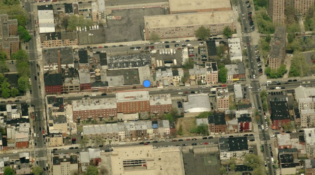 Block bounded by Myrtle, Marcy, Stockton, and Tompkins, with the project being developed on the western portion. Image from Bing Maps.