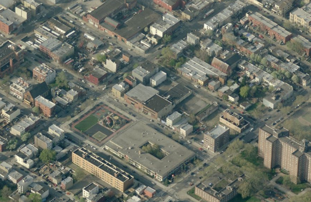King & Sullivan Townhouses (low-slung warehouse at center), image from Bing Maps