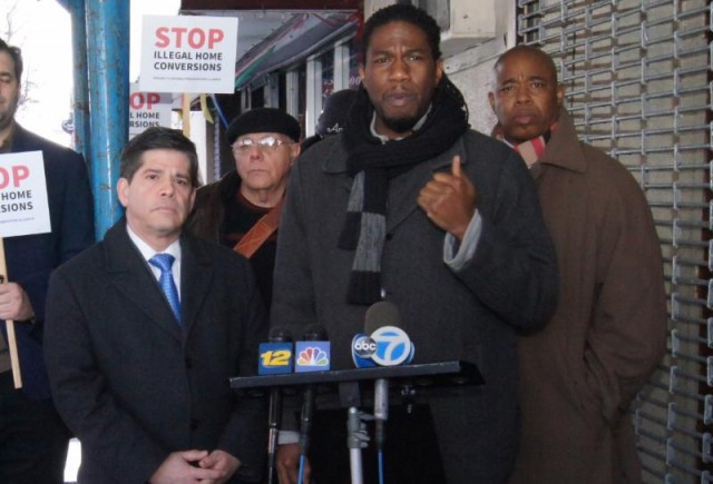 Vincent Gentile (left), Jumaane Williams (middle), and Eric Adams (right) announce legislation to crack down on illegal home conversions. Photo by Ernest Skinner, NYC Council.