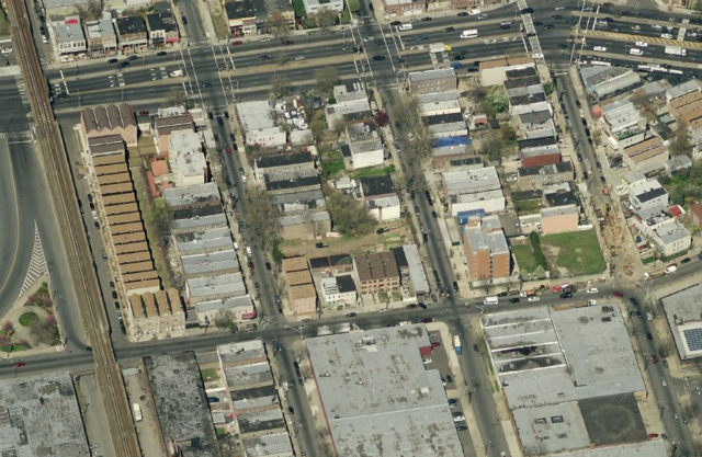 New Lots development (empty lots at center), image from Bing Maps