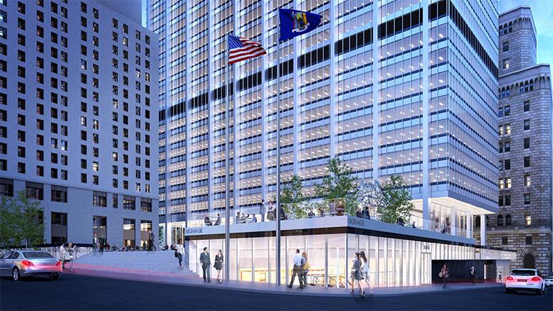 28 Liberty Street, proposed southeast corner. Credit: SOM