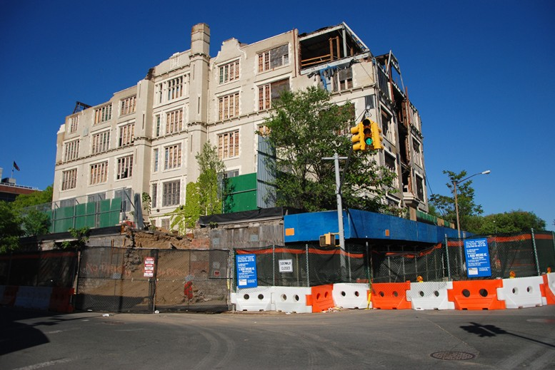 P.S. 31 pictured mid-demolition in April, photo by Nathan Kensinger for Curbed