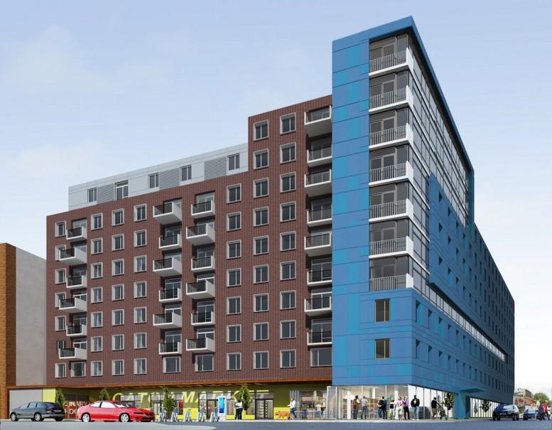 Caton Flats, the planned redevelopment of Flatbush Caton Market at 794 Flatbush Avenue. rendering by Freeform + Deform Architecture