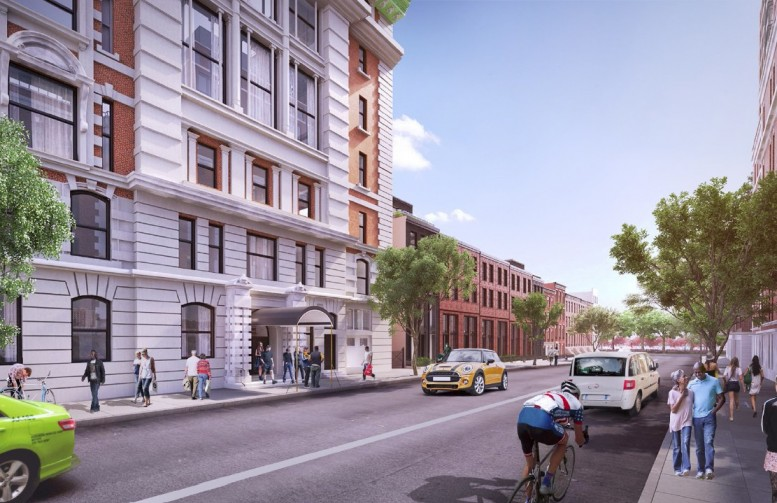 The seven townhouses planned at 90-96 Amity Street, rendering by Williams New York via the Brooklyn Eagle