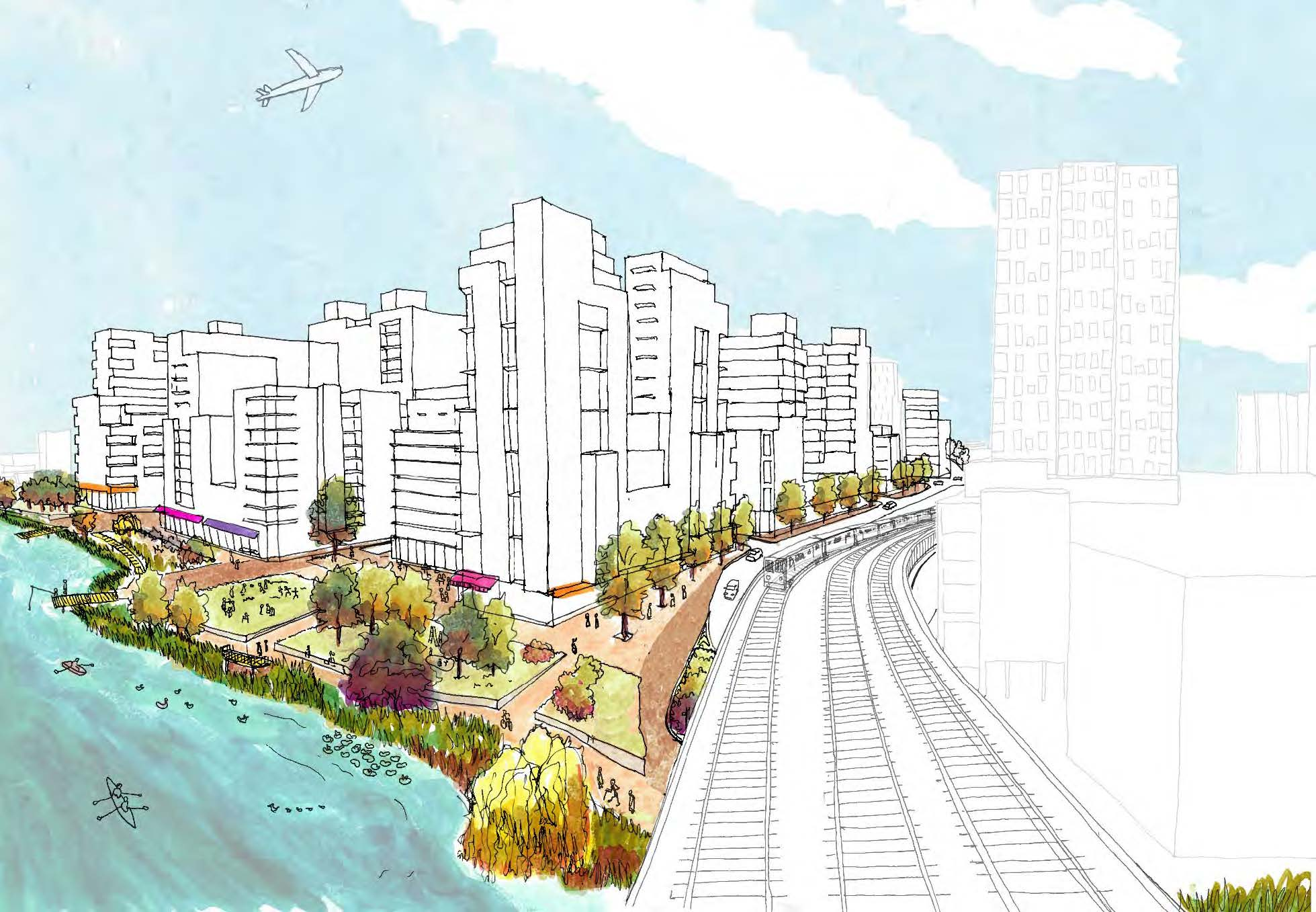 A rendering of the city's vision for Flushing West from the 7 train tracks. image via Department of City Planning