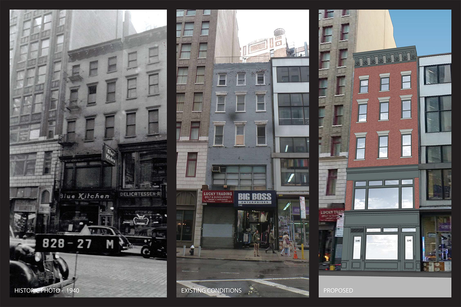 Historic, existing, and proposed facades at 1145 Broadway.