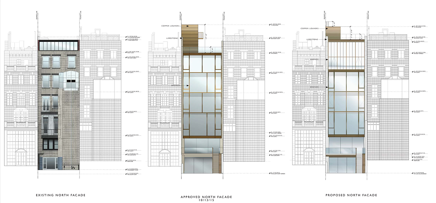 Existing, previous proposal, and current proposal for the rear of 39 East 67th Street.
