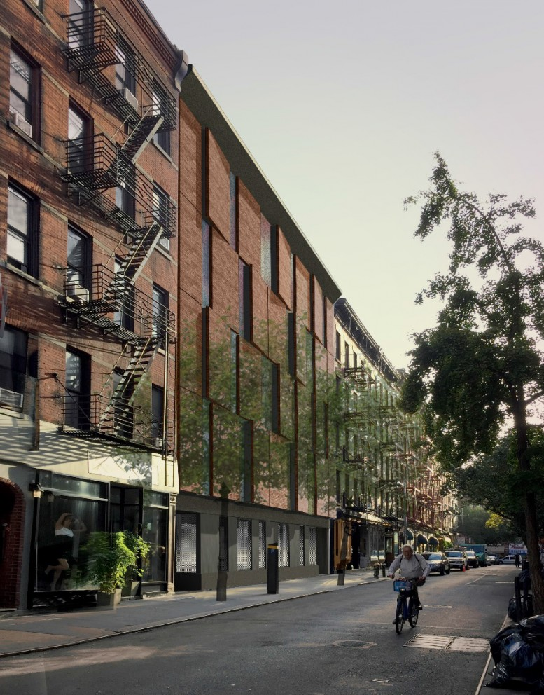 Rendering of the facade of the IFC Center at 14-16 Cornelia Street, approved by the LPC.