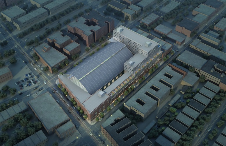 Aerial rendering of the Bedford Union Armory, rendering by Jonathan Marvel Architects