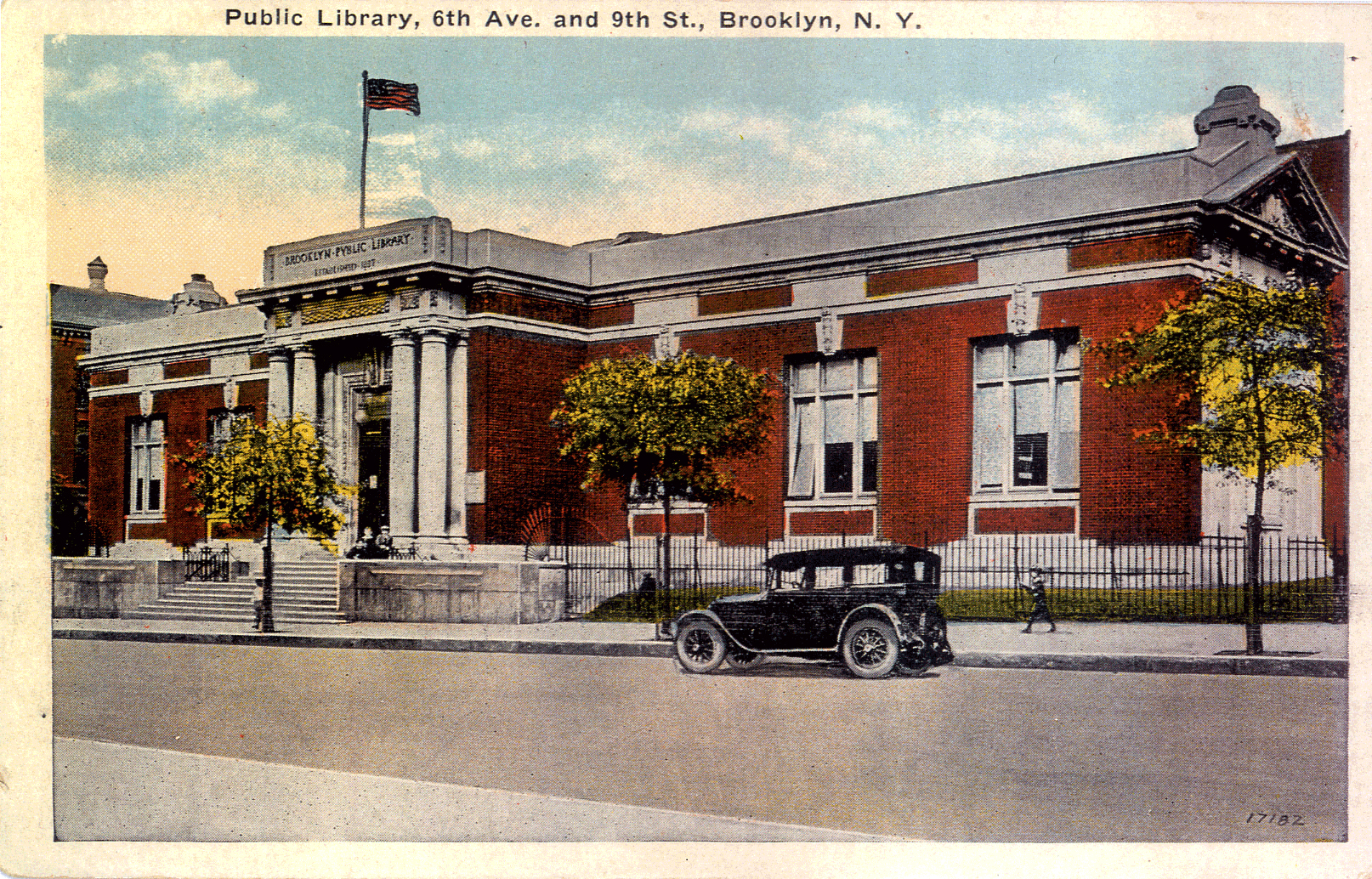1920s postcard of the Brooklyn Public Library's Park Slope Branch.