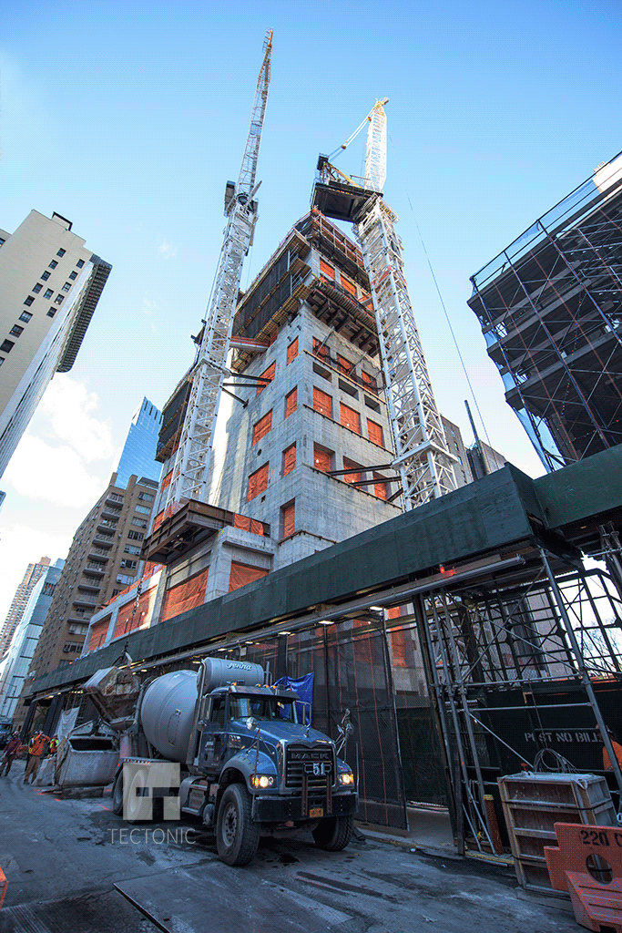 Construction of 220 Central Park South, as seen from West 58th Street. Photo by Tectonic.