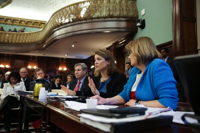 City Planning Director Carl Weisbrod, Deputy Mayor Alicia Glen and HPD Commissioner Vicki Been testify about Mandatory Inclusionary Housing during a hearing on Tuesday.