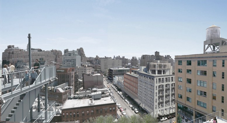 A rendering of the proposal for 46-74 Gansevoort Street as seen from the Whitney Museum of American Art. All renderings courtesy BKSK Architects.