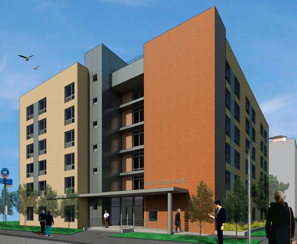 Supportive housing planned at 179 Throop Avenue, rendering by Monica Lopez Architect