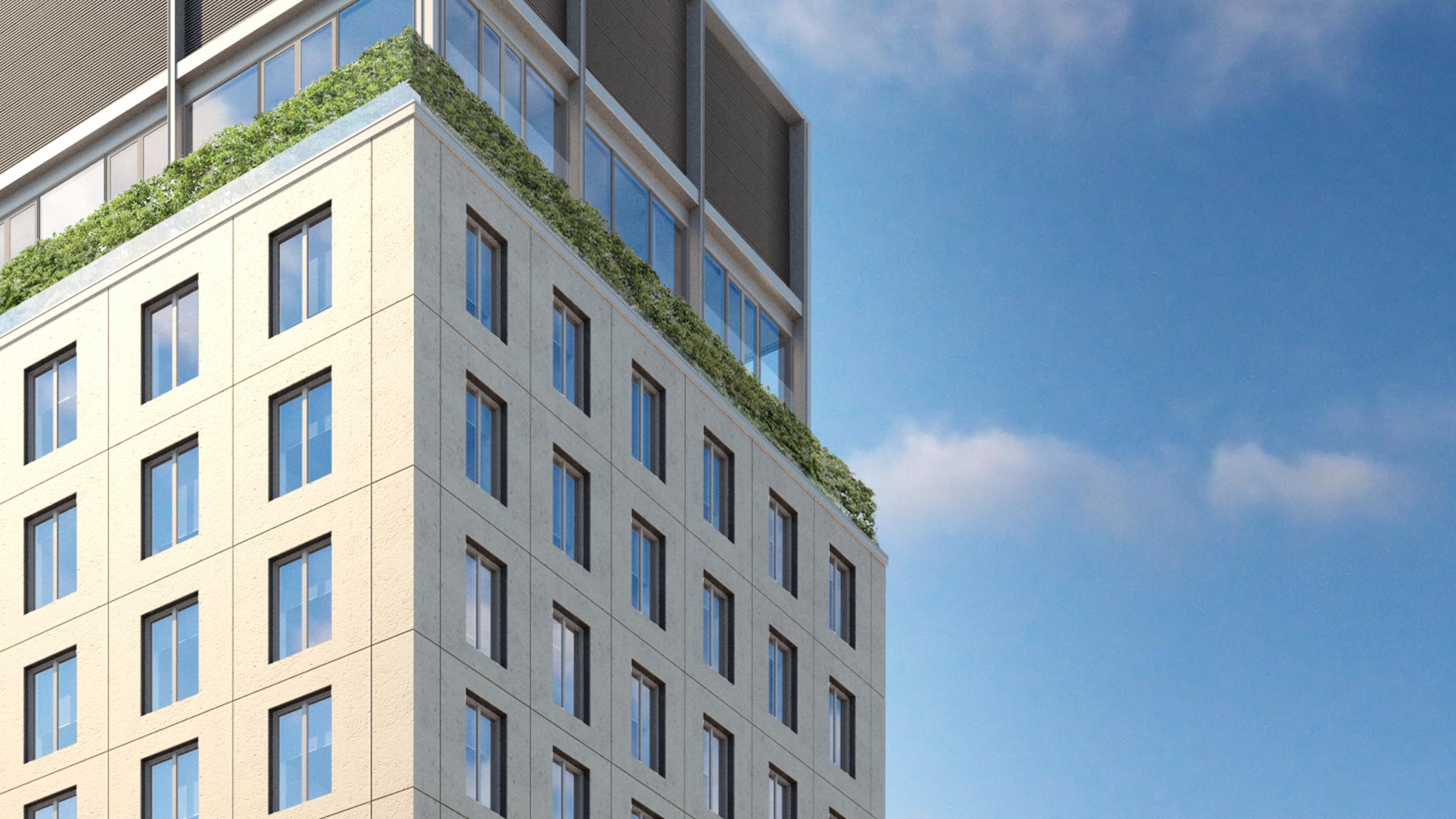 21 East 12th Street facade, rendering by Wordsearch