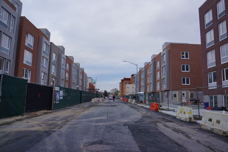Phases 1 and 2 of the Prospect Plaza affordable housing development take shape in Ocean Hill, Brooklyn.