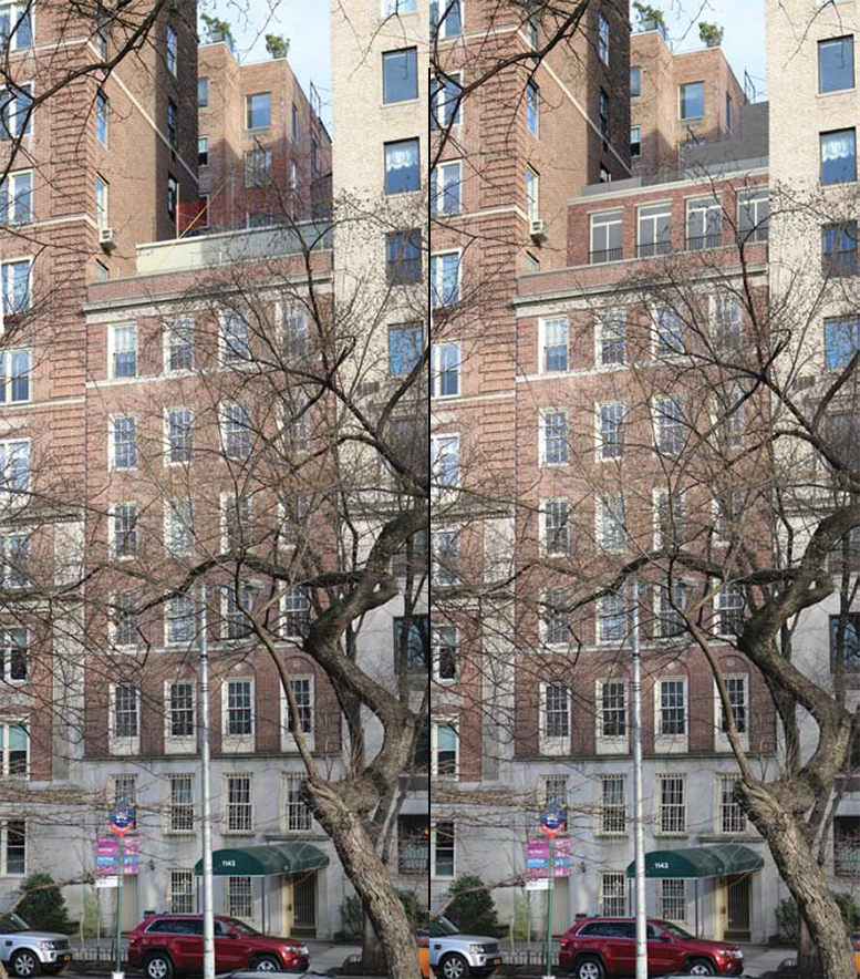 1143 Fifth Avenue, existing and proposed views