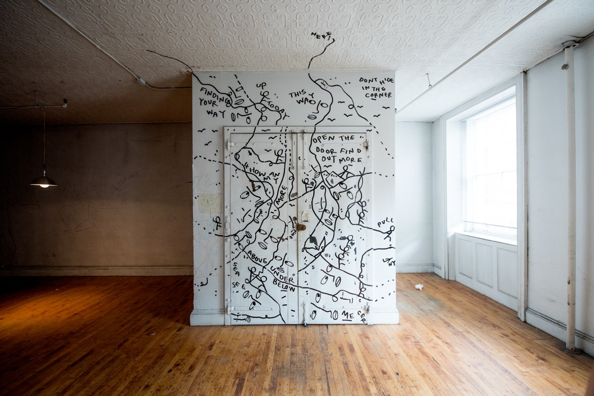 Shantell Martin's work on a fourth floor elevator at 25 Mercer Street. Credit: Roy Rochlin
