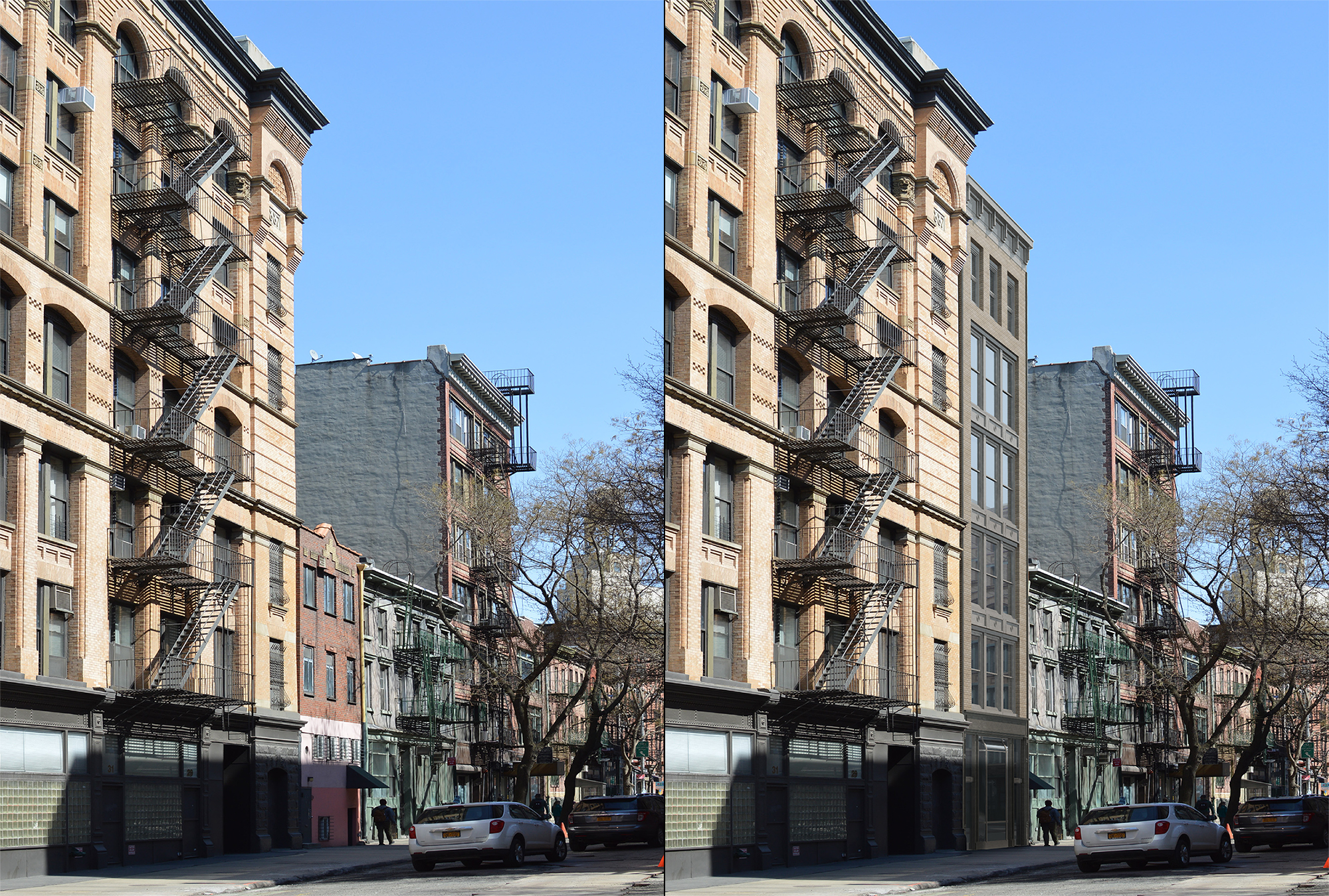25 Bleecker Street, existing and proposed conditions.
