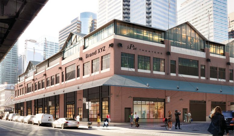 Proposal for Fulton Market Building, viewed from South and Beekman streets, day rendering