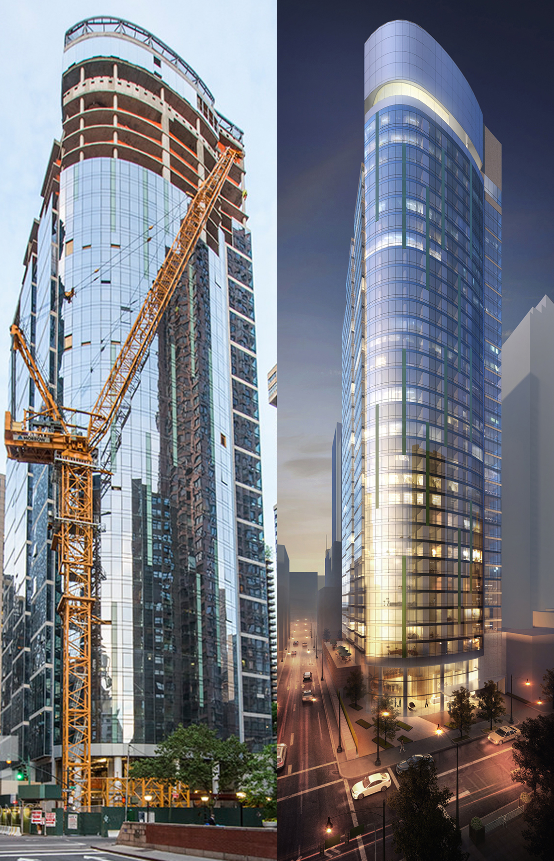 222 East 40th Street. Photo at left by Tectonic via the YIMBY Forums. Rendering at right via Fisher Brothers.