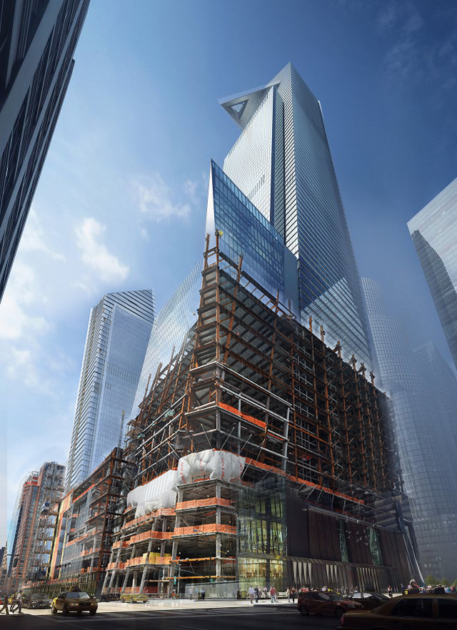 Photo/rendering composite of 30 Hudson Yards. Photo by NYConstructionPhoto