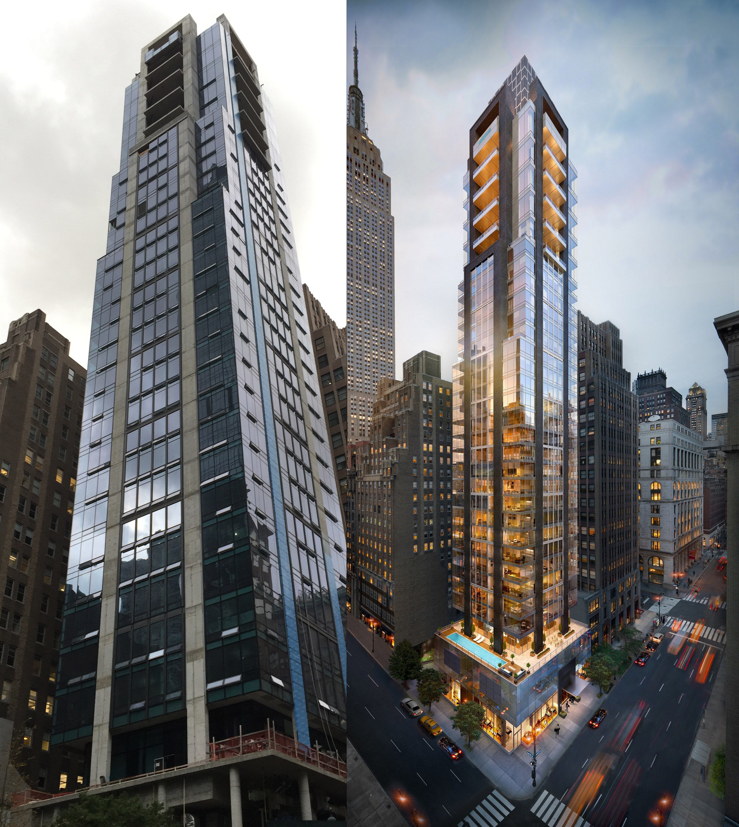 172 Madison Avenue, current photo and rendering. Photo by robertwalpole via YIMBY Forums