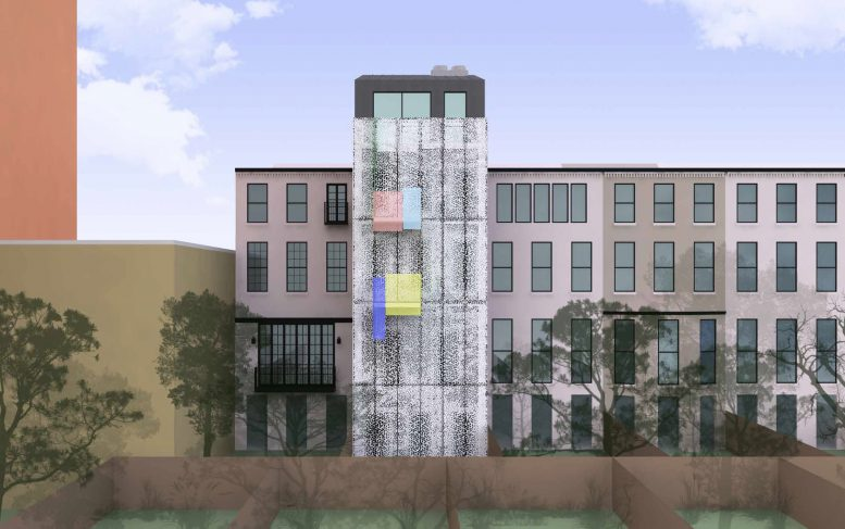 Proposed rear of 210 East 62nd Street, with screen closed