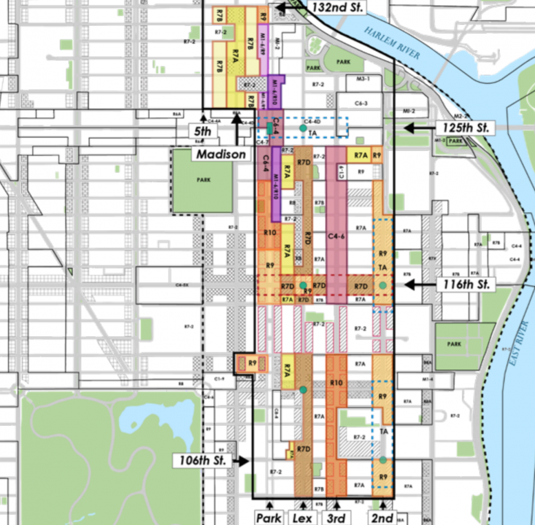 Proposed zoning for East Harlem, map via DCP