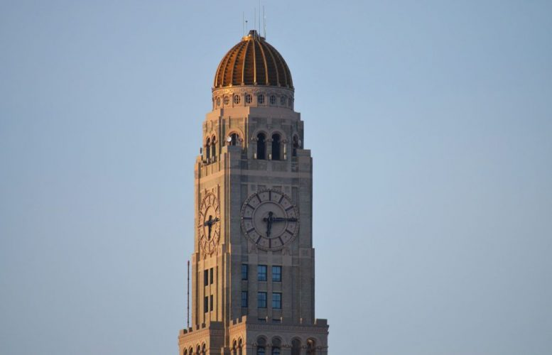 The former Williamsburgh Savings Bank Tower at 1 Hanson Place as seen from 709 Sackett Street in Park Slope. File photo by Evan Bindelglass