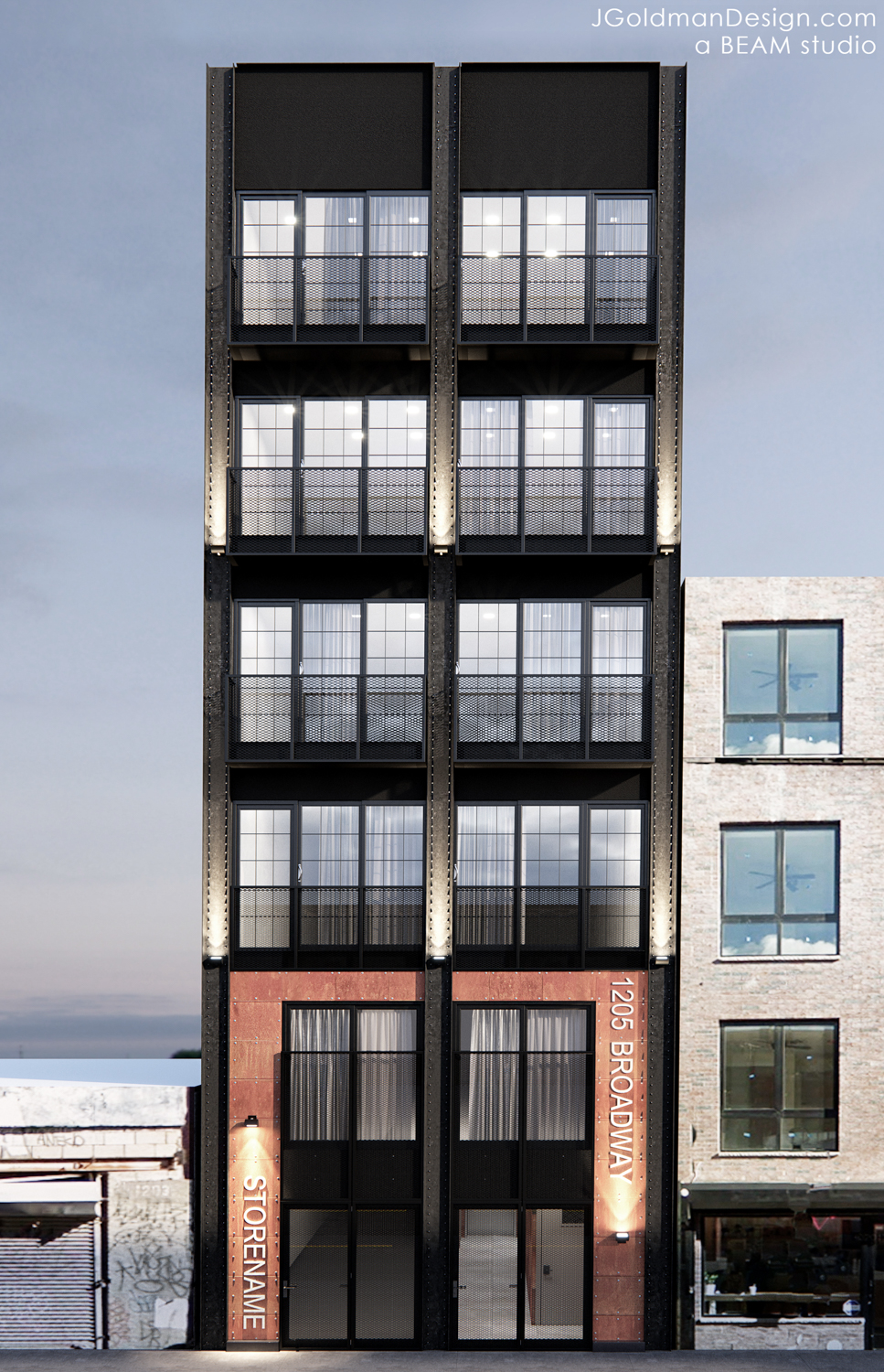1205 Broadway elevation, rendering by Beam Group