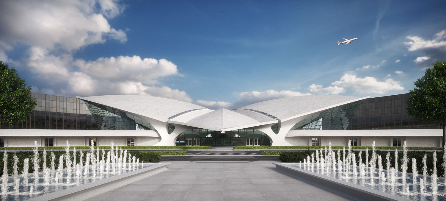 Entry to TWA Hotel rendering, by MCR Development
