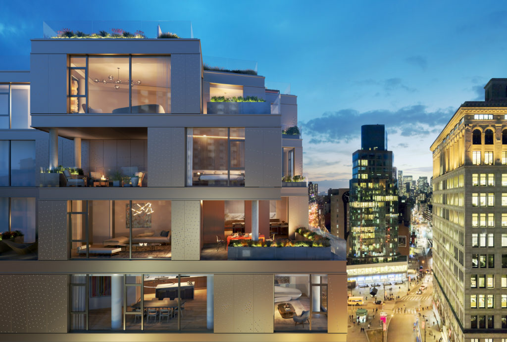 80 East 10th Street hummingbird view, rendering by MOSO Studio