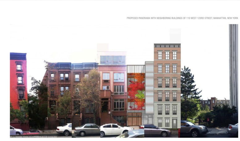 110 West 123rd Street in context, design by Shahrish Consulting