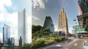Queens Plaza Park, rendering courtesy the Durst Organization (left) and Long Island City Clock Tower, via Google Maps (right)