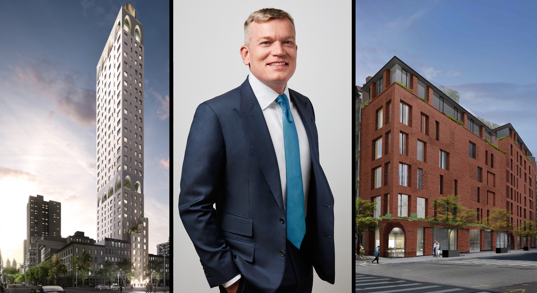 DDG's Joe McMillan with 180 East 88th Street at left and 100 Franklin Street at right