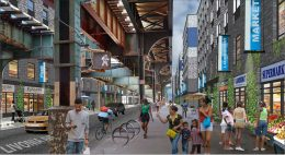 """Rendering of street-level retail portions of the """"Marcus Garvey Extension"""" development in Brownsville, Brooklyn"""