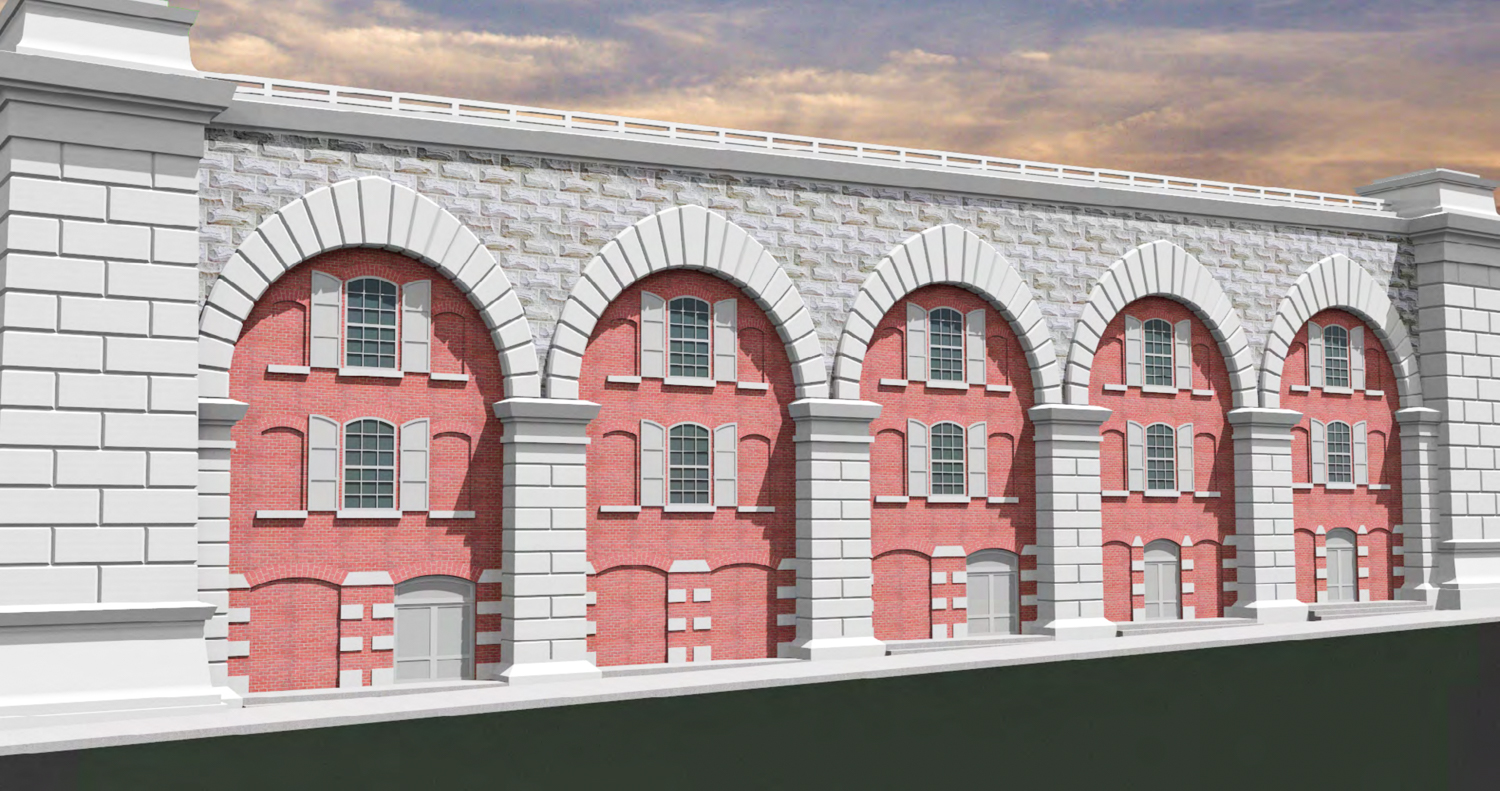 Arch Block C Southern Facade along the Manhattan Approach of the Brooklyn Bridge, rendering by B. Thayer Associates