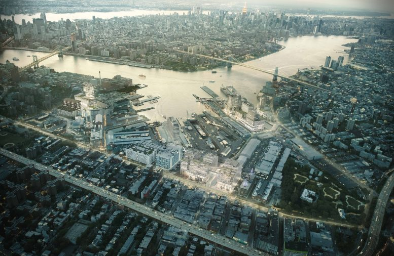 Birdseye view of Brooklyn Navy Yard Master Plan, rendering by WXY and bloomimages