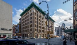 Rendering illustrates 260 Eleventh Avenue from the corner of 27th Street and 11th Avenue - Rogers Stirk Harbours + Partners