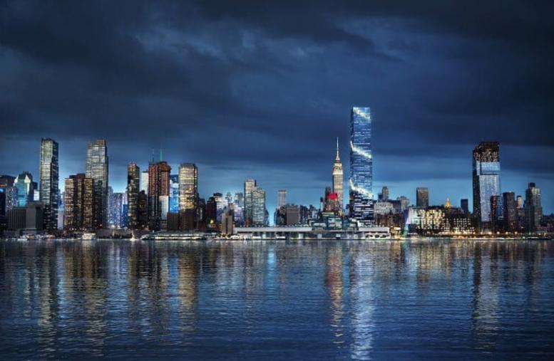 Night rendering of the New York City skyline featuring 66 Hudson Boulevard. Credit: BIG/Tishman Speyer.